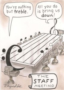 Cartoon about music notes having a staff meeting
